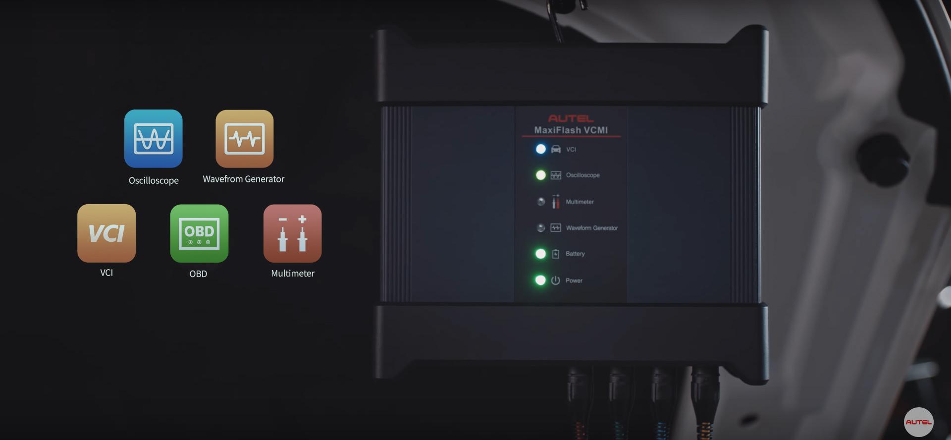 voltmètre, oscilloscope, simulateur de composant, analyseur de bus CAN