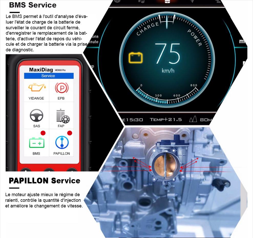 MD808 PRO fonction BMS et PAPILLION