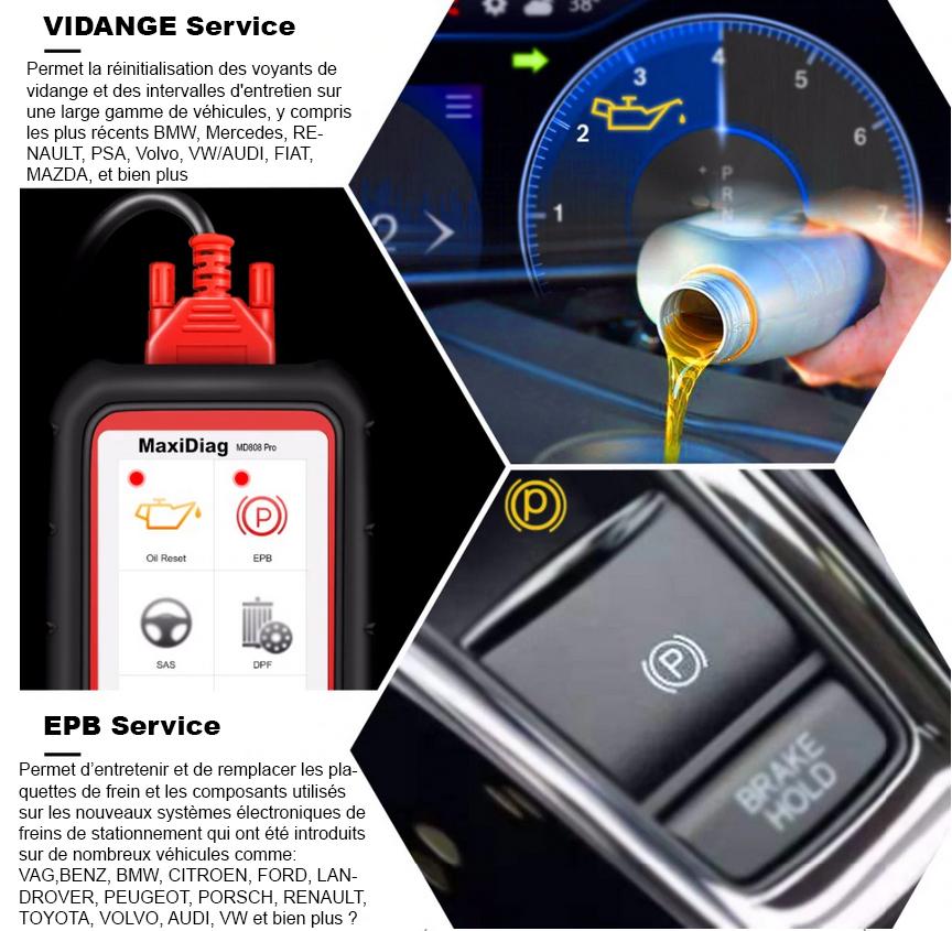 MD808 PRO Fonction EPB et reset Vidange