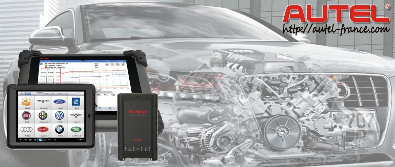 Valises de diagnostic professionnelles mutimarques de la gamme MaxiSYS et MaxiDAS de la marque Autel destinés aux particuliers comme aux professionnels couvrant tous les systèmes éléctronique